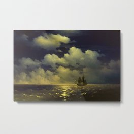 """Brig """"Mercury"""" Attacked by Two Turkish Ships Masterpiece by Ivan Aivazovsky Metal Print"""