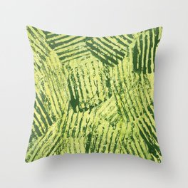 Green striped abstract Throw Pillow