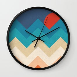Vintage 70s Adventure on the Mountains Wall Clock