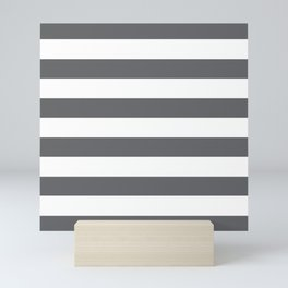 Simply Striped in Storm Gray and White Mini Art Print