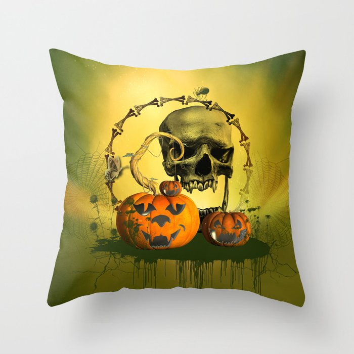 Halloween Funny Pumpkins And Skull Throw Pillow By Nicky2342