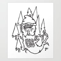 bon iver Art Prints featuring Bon Iver by greta skagerlind