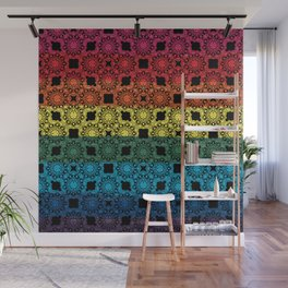 Pride Flag Overlayed with a Flower Doodle Graphic  Design Wall Mural