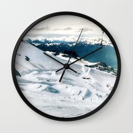 Snowy life on slope under T-bar lifts Wall Clock
