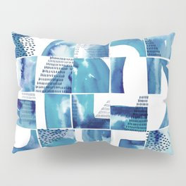 Blue Watercolor Typographical Fragments Cheater Quilt Pillow Sham
