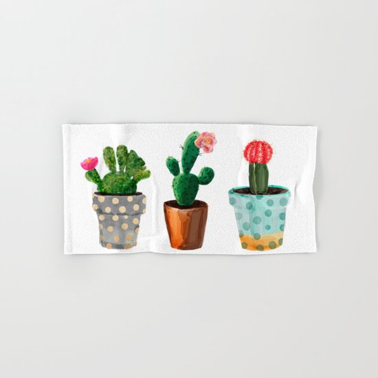 Three Cacti With Flowers On White Background Hand & Bath Towel