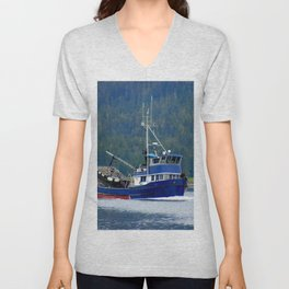 Petersburg Alaska Fishing Boat Unisex V-Neck