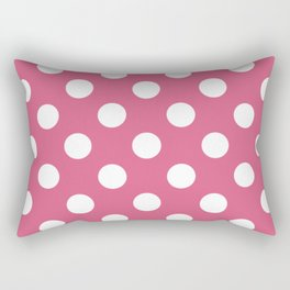 Blush - pink - White Polka Dots - Pois Pattern Rectangular Pillow