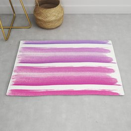 Simply hand painted pink and magenta stripes on white background  2 - Mix and Match Rug