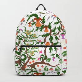 Fairy floral seamless pattern with unusual plants, trees and flowers Backpack