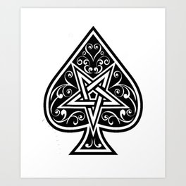 Ace of Spades Pentagram Star, Fun Gift Idea Design Art Print