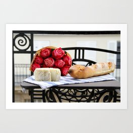 French Baguette and Cheese on a Paris Balcony Art Print
