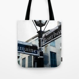 Dumaine and Bourbon - Street Sign in New Orleans French Quarter Tote Bag