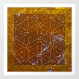Orange Calcite // Flower of Life Art Print