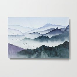 Vintage mountains birds and fog hand painted illustration Metal Print
