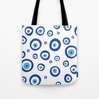 evil eye Tote Bags featuring Evil Eye by Stephania Silveira