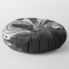 Ouroboros mythical snake on black cloudy background | Pencil Art, Black and White Floor Pillow
