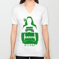 green arrow V-neck T-shirts featuring Green Arrow by Sport_Designs