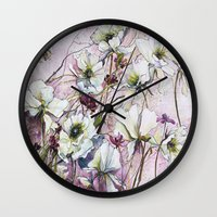 botanical Wall Clocks featuring Botanical by Anna Maiko