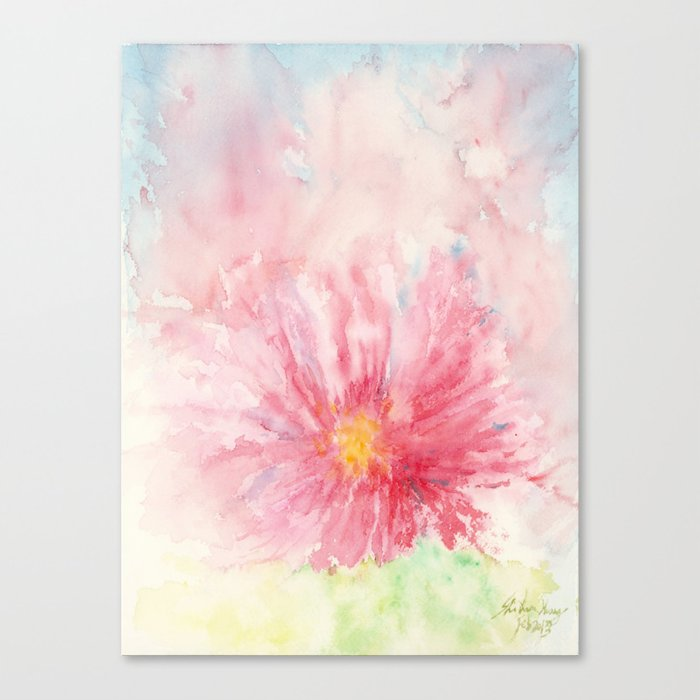 Flora Flower Abstract Art Watercolor Painting Print By Suisai Genki Canvas Print By Suisaigenki