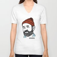 zissou V-neck T-shirts featuring Zissou by Daniel Feldt