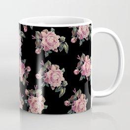 Pink Roses Dark Floral Pattern Coffee Mug