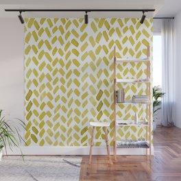 Cute watercolor knitting pattern - ochre Wall Mural