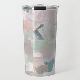Mint Seafoam Green Dusty Rose Blush Pink Abstract Nature Flower Wall Art, Spring Painting Print Travel Mug