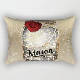Gold Sparkle Mason Jar Rectangular Pillow