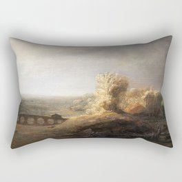 Govert Flinck - Landscape with a seven arched bridge Rectangular Pillow