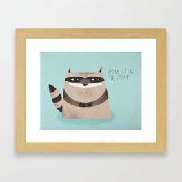 Sneaky Raccoon Framed Art Print