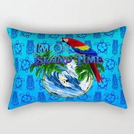 Blue Tikis Island Time And Parrot Rectangular Pillow