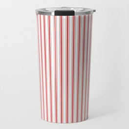 Mattress Ticking Narrow Striped Pattern in Red and White Travel Mug