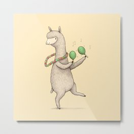 Alpaca on Maracas Metal Print