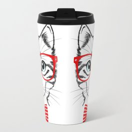 Hipster Cat with Red Glasses Travel Mug