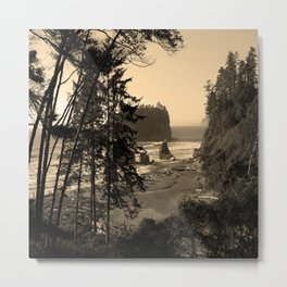 ruby beach, wa, usa old school (square) Metal Print
