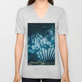 Blue Palm Tree Window Unisex V-Neck