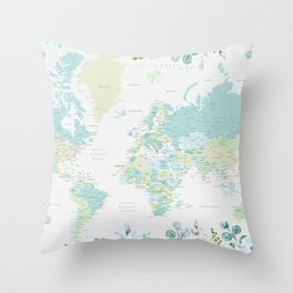 Mint and green floral world map with cities Throw Pillow