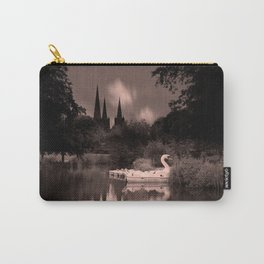 Swan Boats In The Reflection Of Lichfield Cathedral Carry-All Pouch