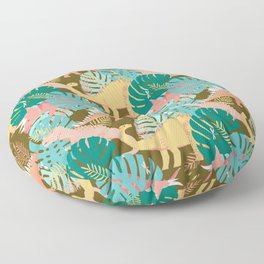 Jungle Dinosaurs on Gold Floor Pillow