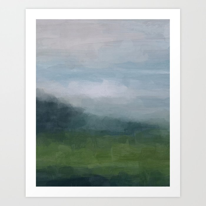 Gray Blue Navy Indigo Grass Green Abstract Painting Wall Art Prints, Nature Horizon, Modern Wall Art Kunstdrucke