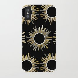Art Deco Starburst in Black iPhone Case