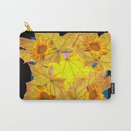 Golden Yellow Fall Leaves Sunflower Black Design Pattern Art Carry-All Pouch