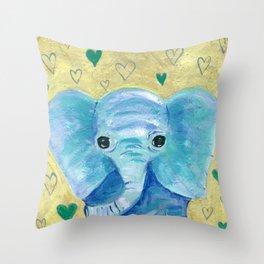 Elephant painting, Nursery Decor, Child's Room Decor, Hearts Painting, Blue, Green, Gold Throw Pillow