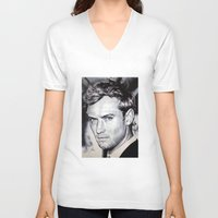 law V-neck T-shirts featuring Jude Law by Matteo Felloni Artista
