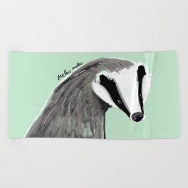 Adorable Badger ( Meles meles ) Beach Towel