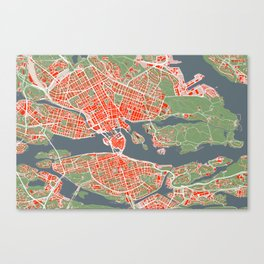 Stockholm city map classic Canvas Print