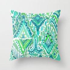 Spring TEMPLE TRIBAL Green Ikat Throw Pillow