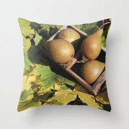 Fall still life pear pyrus fruit in wooden basket on maple leaves Throw Pillow