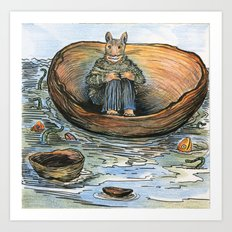 Wooden Bowl on the Sea Art Print